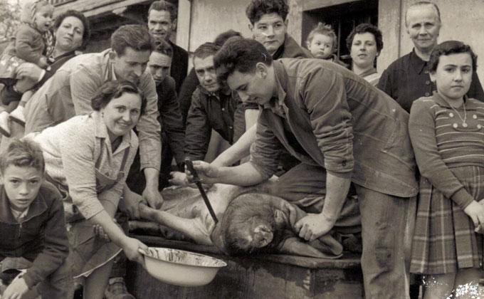 Escena familiar de la matanza años 70.